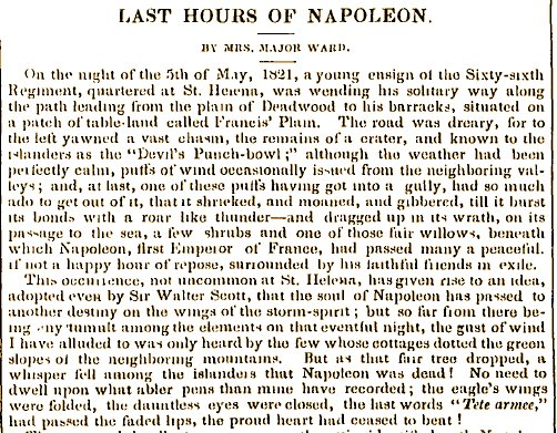 Mort de Napol�on par Mrs Ward - Times 1853