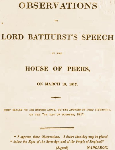 R�ponse de Napol�on � Lord Bathurst - 1817